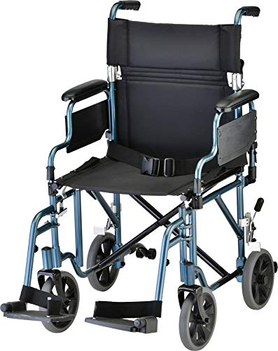 NOVA Medical Products Lightweight Transport Chair with Removable & Flip Up Arms for Easy Transfer, Anti-Tippers Included, Blue