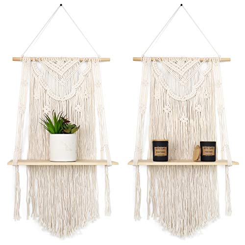 GregCo 2 Pack Macrame Wall Hanging Shelf - Decorative Floating Shelves for Plants, Books and Vases - Woven and Handmade Display Storage and Organizer - Sturdy Shelving Unit for Homes and Office -