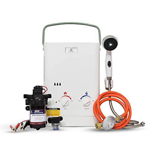 Eccotemp CEL5 6.0 LPM calentador de agua portátil para exteriores con diafragma EccoFlo 12 V bomba y colador, 30 mbar
