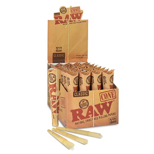 RAW 92 Rolling Paper Cones Natural Hemp, 32 Papers (Pack of 6)