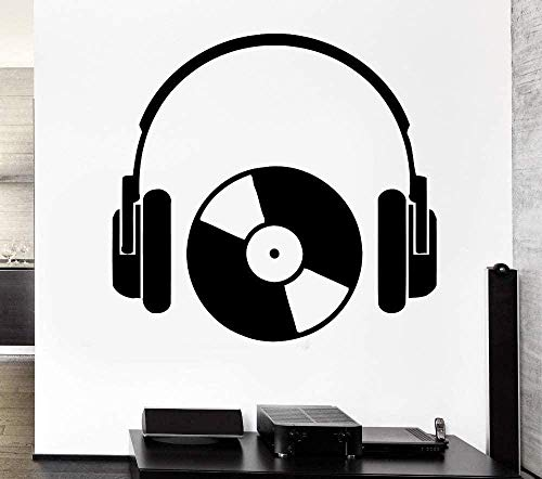 Etiqueta de la pared Moda Etiqueta de la pared creativa Auriculares Serie de música Cool Rock Auriculares y CD Art Design Decal Art Poster 56x89cm