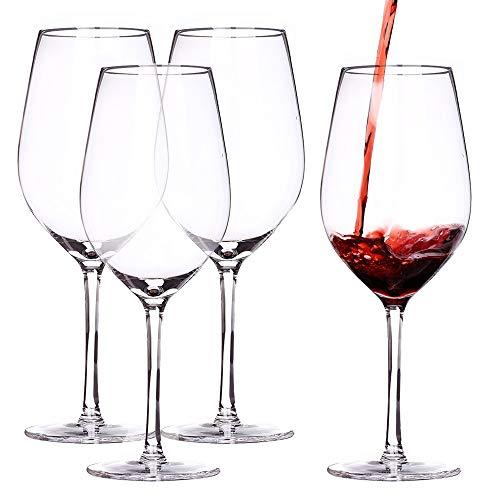 600 ml Bordeaux Weinglas Kristallrotweinglas Handgeblasen Bleifrei hochwertiges kristallklares Glas Geeignet für Hochzeiten Jubiläen Weihnachten (4er Set)
