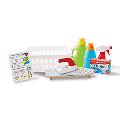 Melissa & Doug Laundry Basket Play Set With Wooden Iron, Ironing Board, and Accessories (14 Pcs) from Melissa and Doug