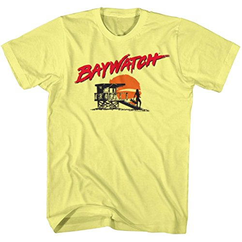 Yellow Baywatch Logo and Sunset T-shirt for Men