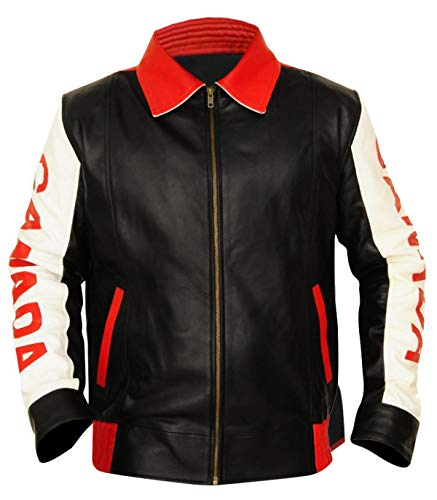 CHICAGO-FASHIONS Mens Canada Flag Biker Bomber Faux Leather Jacket
