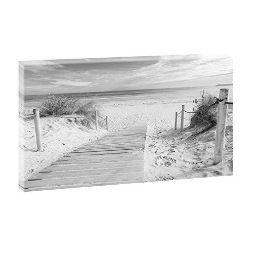 Querfarben Bild auf Leinwand mit Landschaftsmotiv Holzsteg zum Meer | 80 x 135 cm, SW, Wandbild, Leinwandbild mit Kunstdruck, Nordseebild mit Strandmotiv auf Holzrahmen gespannt, 80x135 cm