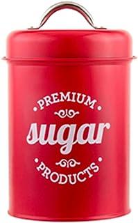 KunmniZ Röd smidesjärn te burk godis socker skål burk kaffe behållare fodral hem tank utrymme spara heminredning förvaring...
