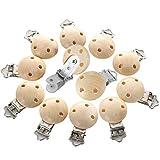 O-Kinee 12 Pcs Pinza Chupete Madera Bebe,Niña&Niño Chupete Chupetero Personalizado Clip Redondo para Hacer Cadena Chupete Sujeta Bebé Diy con Tres Agujeros Chupete Clip