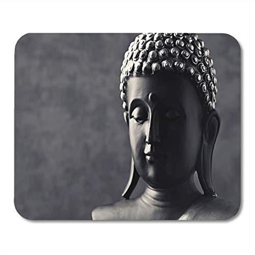 Mauspads Asiatisches Schwarzes Gesicht Buddha Statue Weiß Meditation Schattenstein Mauspad für Notebooks, Desktop-Computer Matten Büromaterial