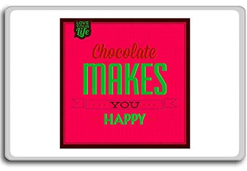 Chocolade maakt je blij (rood) - Motivationele Quotes Koelkast Magneet