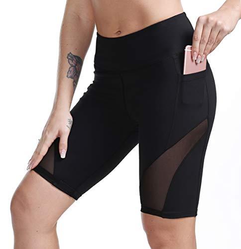 TYUIO Mesh Yoga Shorts for Women,Compression Running Workout Short Leggings Black XL
