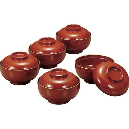 椀 : M11790-5 雑煮椀(5客) 朱渕金塗