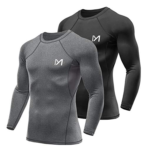 MEETYOO Men's Compression Shirt, Cool Dry Long Sleeve Underwear Top for Men, Sport Fitness Base Layer (Black+Grey, XX-Large)