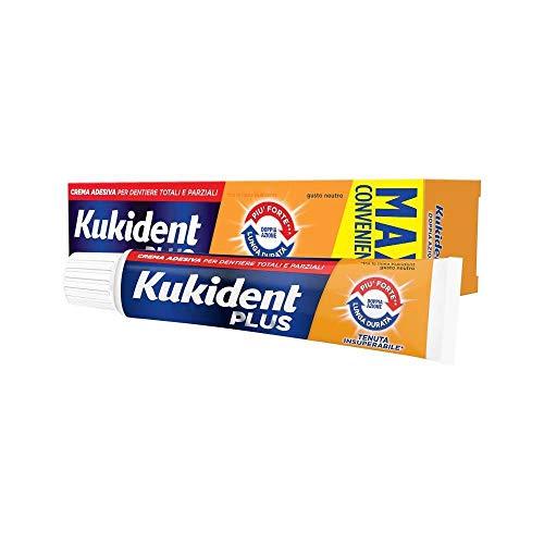 Kukident Plus Doppia Azione Crema Adesiva Premium per Dentiera Gusto Neutro - 60 gr