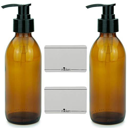 mikken 2 Seifenspender 200 ml Lotionspender Glas Braun lebensmittelecht inkl. Beschriftungsetiketten