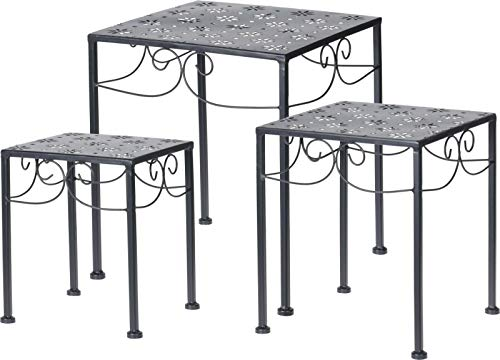 Mesa auxiliar de jardín – 3 piezas de metal negro cuadrado mesa de anidación para el hogar y el patio