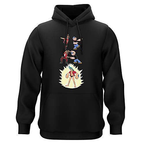 Sweat-Shirt à Capuche Noir Parodie One Piece - Popeye - Franky, Ace Ventura et Popeye - Fusion YAHAAAAA !!! (Super Splendide :) (Sweatshirt de qualité Premium de Taille XL - imprimé en France)