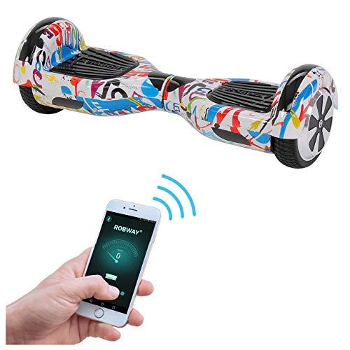 Robway W1 Hoverboard - Das Original - Samsung Marken Akku - Self Balance - 22 Farben - Bluetooth - 2 x 350 Watt Motoren - App - Led (2 Splash-White)