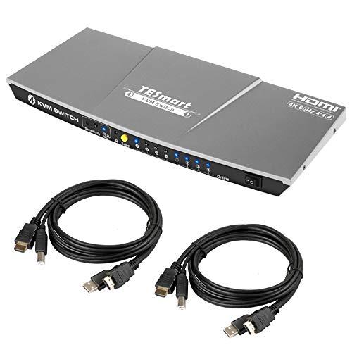 TESmart 4x1 KVM HDMI Switch HDMI Switcher 4K @60Hz con 2 Cables KVM de 5 pies /1.5 m, Soporta USB 2.0 y Salida de Audio Analógica L/R HDCP2.2, Compatible con Unix/Windows/Mac OS X, etc. (Gris)
