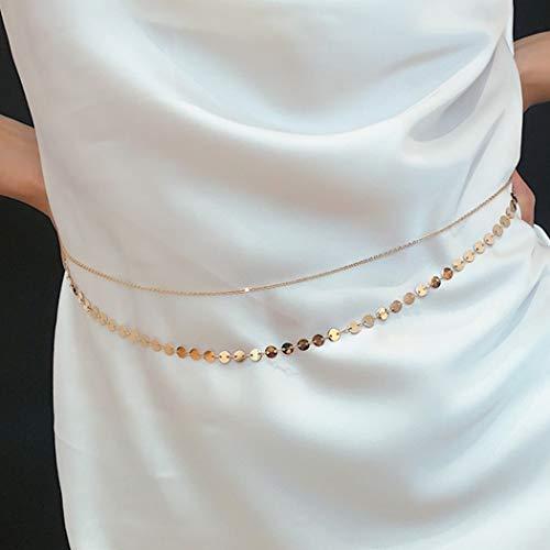 Sethain Moda Catena in vita oro Layered Metallo paillettes Catene Pancia Catena bikini Accessori per il corpo Gioielleria per donne e ragazze