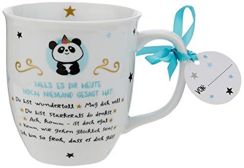 Hope und Gloria 46252 Kaffee-Tasse mit Panda und Spruch Falls es dir heute noch niemand gesagt hat, Porzellan, 40 cl