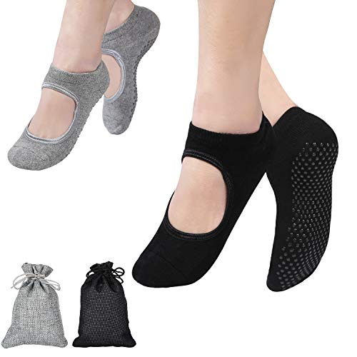 FORMIZON 2 Pares Calcetines Yoga, Pilates Calcetines, Calcetines Antideslizantes Mujer pour Yoga, Pilates, Ballet, Fitness Antideslizantes (Negro y Gris)