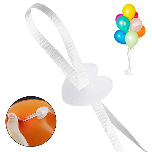 GOLRISEN 100 Stück Ballonverschlüsse Helium Schnellverschluss Luftballon Ballonbänder Luftballonverschlüsse Weiß Ballonverschluss mit Polyband Luftballon Verschluss für Geburtstag Hochzeit Weihnachten