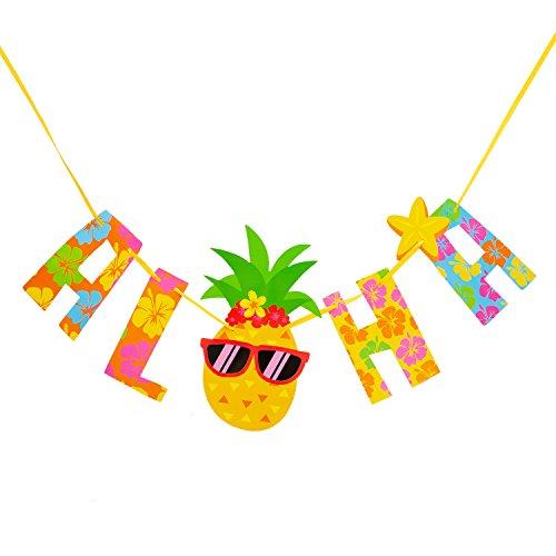 Oblique-Unique® - Guirnalda de Aloha con piña, para verano, Hawaii, fiesta de cumpleaños, decoración multicolor