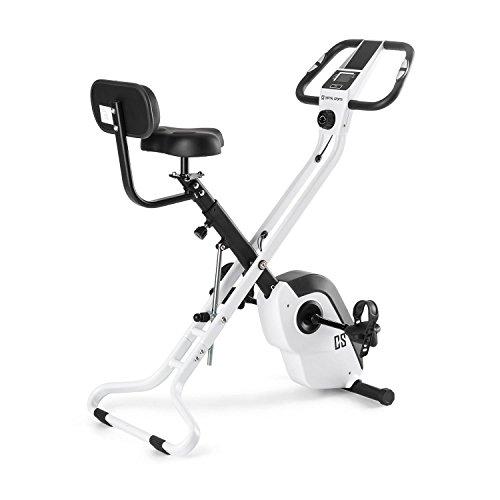 Capital Sports Azura X2 platzsparendes X-Bike - Ergometer, extrabreiter Sattel und Rückenlehne, 8-stufig einstellbarem Widerstand, Trainingscomputer, Pulsmesser, 3 Klapppositionen, max. 120 kg, weiß