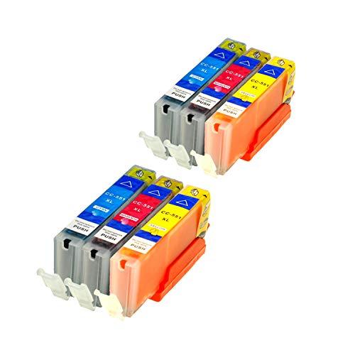 6 Druckerpatronen kompatibel für Canon CLI-551 C M Y IP-7250 8750 IX-6850 MG-5450 5550 6350 6450 7150 MX-725 925