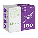 Care Touch CTSLS3 3mL Syringe Only with Luer Slip Tip (No Needle), Shape (Pack of 100)