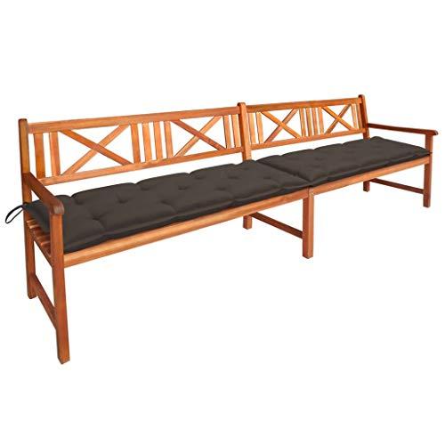 vidaXL - Banco de jardín de madera sólida de acacia con cojines banco de terraza banco de terraza banco de patio, mueble de exterior de 240 cm