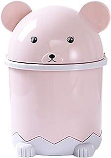 Desktop Flip Trash Can Cover Mini Portable Garbage Storage Bin