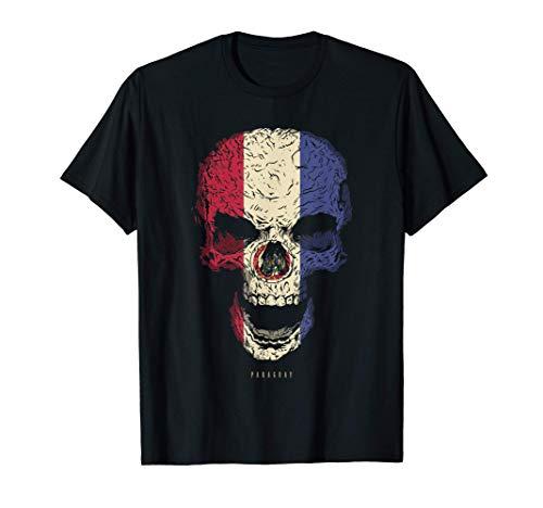 Camiseta Calavera con Bandera de Paraguay Cráneo Camiseta