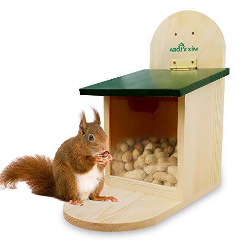 MIXXIDEA Wooden Squirrel Feeder Box, Squirrel Feeding House with Green Cover, Easy to Fill, Durable with Solid Structure, Easy to Clean with Removable Front panel, Squirrel Feeders for Outside, Garden