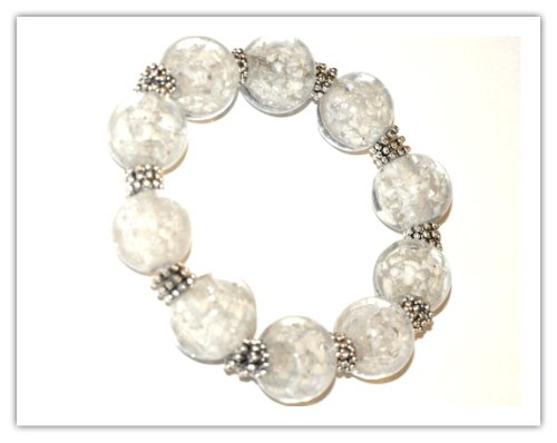 *HUGE BEADS SALE!* JSB Chunky Round Snowflake Glass Bracelet KIT Collection (CRYSTAL) ~ Ref:4B12 ~ NO SPECIAL TOOLS REQUIRED