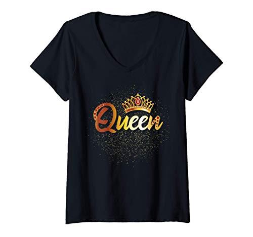 Donna Matching Family Shirt Gift Idea King Queen Prince Princess Maglietta con Collo a V