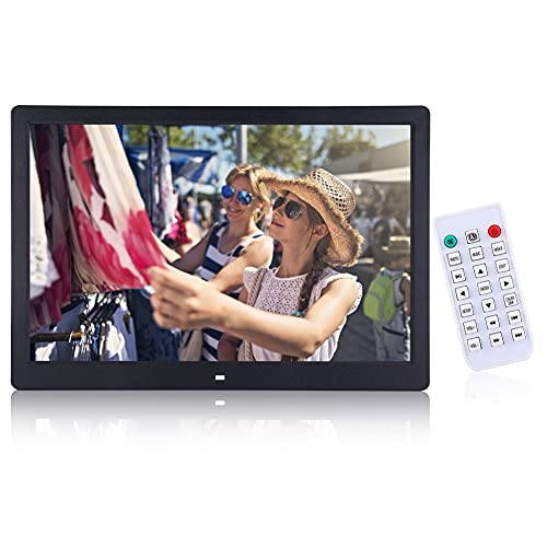 Ausla - Marco de fotos digital de pared con pantalla LED de alta resolución, 1280 x 800, con función foto/video/calendario/alarma/meteorológico/negro