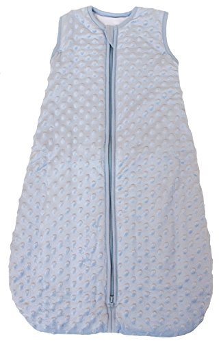 Baby Sleeping Bag'Minky Dot' Blue, Quilted Winter Model, 2.5 Tog (Large (22 mos - 3T))