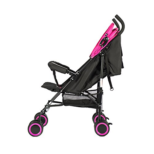 EVEZO 2141A Full-Size Ultra Lightweight Umbrella Stroller, Reclining Seat, 5-Point Safety Harness, Canopy, Storage Bin (Hot Pink)