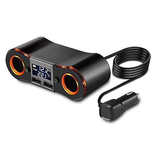 SODIAL Enchufe Divisor Encendedor de Cigarrillos ZNB02 Adaptador Cargador del Coche 3.5A Dual USB Puertos Soporte Voltimetro/Pantalla LED de Temperatura para iPhone iPad Samsung12-24V