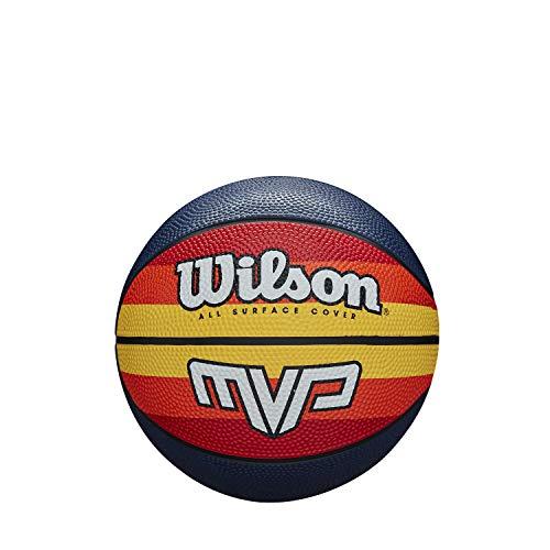 Wilson WTB0984XB03 Balón de Baloncesto, Mvp Retro Mini, Tamaño 3, Cubierta de Goma, Todas las Superficies, Azul/Rojo/Naranja/Amarillo/Blanco