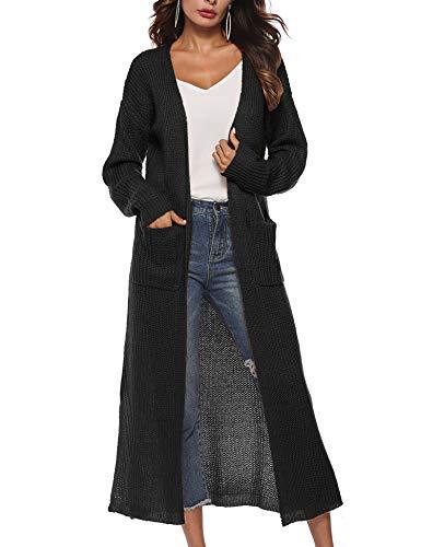 Blaward Womens Fall Long Open Front Split Maxi Duster Cardigans Long Sleeve Lightweight Sweaters, Black, L