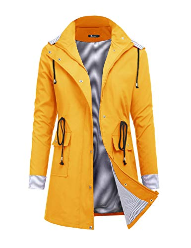 Womens Rain Waterproof Lightweight Outdoor Yellow Windbreaker Hooded Trench Jacket