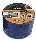 Precinto PVC Cierra Bolsas Color Azul, 6 Rollos XL 12 mm x 80 metros cada uno, Muy Resistente, Cinta Adhesiva para Cerrar Bolsas y Usos Múltiples