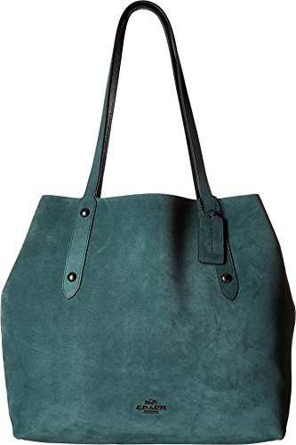 COACH Womens Suede Large Market Tote Dk/Dark Turquoise/Black One Size