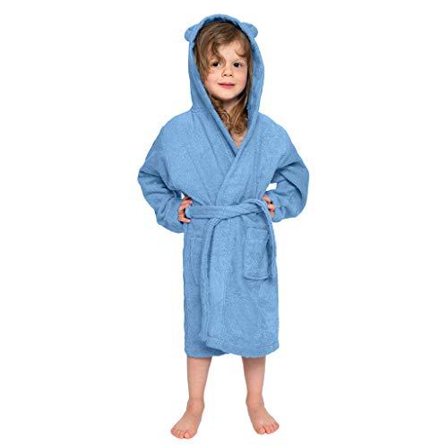 uBabamama jesienna wyprzedaż!!! Unisex niemowlęta chłopcy kreskówka supermiękka flanelowa ciepła szlafrok z kapturem piżama odzież nocna koszula nocna (jasnoniebieska, zalecany wiek: 5-7 lat - M)