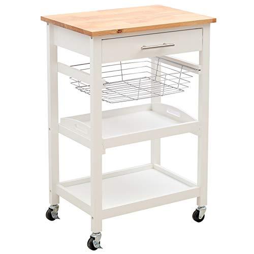 Warmiehomy 4 Tiers Kitchen Storage Trolley Cart, Kitchen Island on Wheels,...