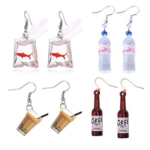 PPX 4 pares divertidos acrílicos Goldfish y botella de agua y lindos pendientes colgantes de té con leche de perlas y pendientes colgantes de botellas de cerveza, aretes colgantes bolsa de agua