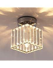 Ganeed Ceiling Lamp,1-Light Crystal Pendant Lighting Fixtures,Close to Ceiling Light for Corridor,Hallway,Entryway,Bar,Chrome
